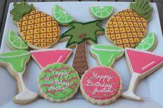 Tropical Birthday Cookies via #TheCookieCutterCompany