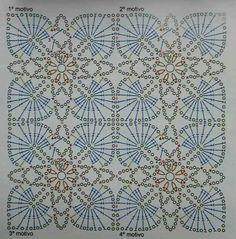Click VISIT link above for more details Crochet Motif Patterns, Crochet Blocks, Granny Square Crochet Pattern, Crochet Diagram, Crochet Squares, Crochet Granny, Filet Crochet, Crochet Art, Crochet Home
