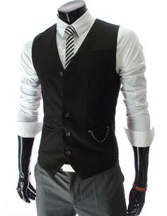 Chain Zipper Pocket 5 Button Slim Vest Waistcoat | $33.99 [theleesshop.com]