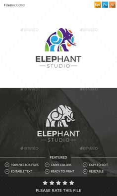 Elephant Logo by Exe-Design Logo Template 100 Re-sizable vector 100 Editable text Easily customizable colors AI & EPS documents For any modification do not