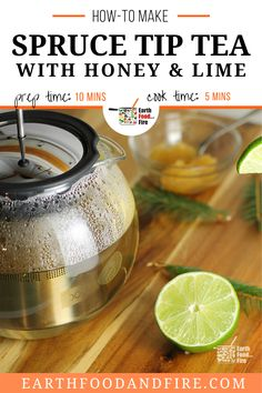 Try this homemade tea recipe! This blend with hone and lime! Did you know the fresh green tips of spruce trees in the Spring are edible? Loaded with vitamin C spruce needle tea is an easy way to begin foraging for food, especially during the cold months of the year.  how to make homemade spruce tea Weed Recipes, Lime Recipes, Drinks Alcohol Recipes, Non Alcoholic Drinks, Real Food Recipes, Homemade Tea, How To Make Homemade, Fresh Green, The Fresh