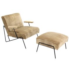 Wire Frame Lounge Chair and Ottoman in Style of Jean Royere | From a unique collection of antique and modern chaise longues at https://www.1stdibs.com/furniture/seating/chaise-longues/
