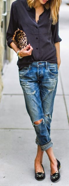 Street Style | black button down shirt, distressed boyfriend jeans, leopard print clutch and cat loafers