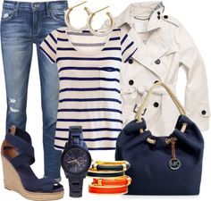"""""""Blue and White ~Marine Style~"""" by gangdise ❤ liked on Polyvore"""