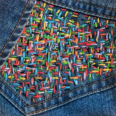 Jeans vest with colourful embroidery stitching . Size L - EU 44 - UK 16 Amazin. - Jeans vest with colourful embroidery stitching . Size L – EU 44 – UK 16 Amazin… Jeans vest with colourful embroidery stitching . Size L – EU 44 – UK 16 Amazing stitching Embroidery Stitches Tutorial, Hand Embroidery Designs, Diy Embroidery, Zardozi Embroidery, Knitting Stitches, Embroidery On Clothes, Embroidery Fashion, Jeans With Embroidery, Denim Jacket Embroidery
