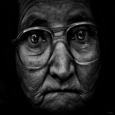 Great portrait, powerful face, expression, intense, glasses, beauty, portrait, photo b/w