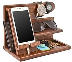 Wood Phone Docking Station Ash Key Holder Wallet Stand Watch Organizer Men Gift Husband Wife Anniversary Dad Birthday Nightstand Purse Father Graduation Male Travel Idea Gadgets Solid by Teslyar Charging Station Organizer, Watch Organizer, Wood Docking Station Diy, Wood Phone Holder, Wood Phone Stand, Key Holder Wallet, Gifts For Husband, Husband Wife, Anniversary Gifts For Him