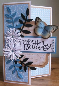 Birthday Cards For Women, Handmade Birthday Cards, Happy Birthday Cards, Birthday Greeting Cards, Making Greeting Cards, Greeting Cards Handmade, Spellbinders Cards, Quilling Cards, Butterfly Cards