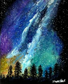 PRINT from my ORIGINAL PAINTING, Forest art, Milky way art, night sky art, Deep…