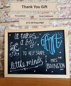 Say thank you with a personalised chalkboard for your child's teacher.  Teacher gift