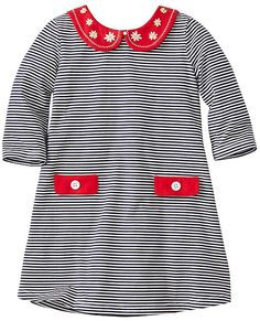 Stripey, simple and super-comfy in soft combed cotton jersey with an extra-sweet Peter Pan collar, this easy slipover is play and party perfect.  <br> •100% combed cotton jersey<br> •Embroidered Peter Pan collar<br> •Back keyhole with button and decorative bow<br> •Faux pockets and flap details<br> •Certified by OEKO-TEX® Standard 100 | 03.U.9375 - FI Hohenstein<br>  •Prewashedv<br> •Imported