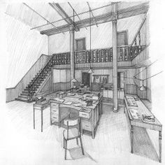 Architectural Hand Renderings by Veronica Ferre, via Behance