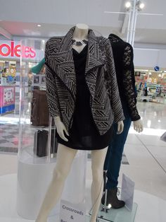 Aztec cardi, black dress and necklace from Crossroads-July 2013.