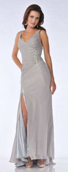 Rhinestone Ruched V-Neck Silver Chiffon Satin Long Formal Dress $237.99