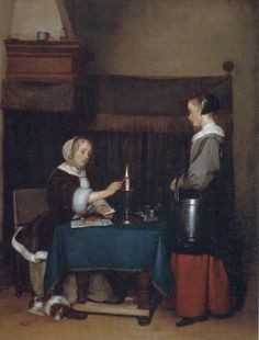 Woman Sealing Her Letter with Her Maid, Gerrit ter Borch