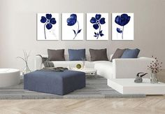 Set of 4 prints Abstract Flowers Navy Blue Flower