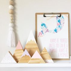 Need something to fill that space on your shelf?? Our spotty mountain sets are perfect you can group them together or split them up available now on the website link in bio  #handmade #shopsmall #shophandmade #timber #timbermountains #timbertriangles #nursery #nurseydecor #shelfie #homedecor #woodworking #toucan by wild_river_