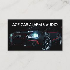 Automotive alarm system and audio business cards in a sleek modern design with image of a cool car on the front with your company name featured and lots of information on the back you can customize to reflect the services you offer your customers. Designed for a custom shop that does car security and sound systems. Business Card Size, Business Cards, Remote Car Starter, Alarm Companies, Car Sounds, Security Cameras For Home, Car Shop, Alarm System, Home Security Systems