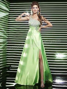 Fabulous A-Line Floor Length Bud Green Satin Rhinestone Bodice Slit Evening Dresses