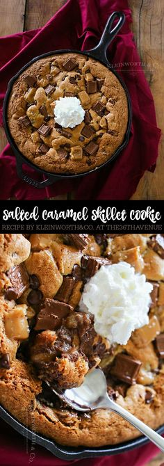 Dessert Recipes - Salted Caramel Skillet Cookie is much like a Pizookie. A giant, thick & chewy chocolate chip cookie baked in an iron skillet with salted caramel.