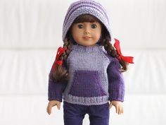 "Ravelry: Kangaroo Campfire Hoodie for 18"" Dolls pattern by Kristin Maw"