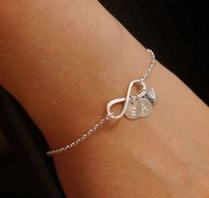 This is my bracelet!!!!    I love it!  I have a very talented friend.   Personalized Infinity Bracelet, Infinity Bracelet with Initials, Grandma Bracelet, Bridesmaid Jewelry, Eternal Love, Infinite Love Bracelet