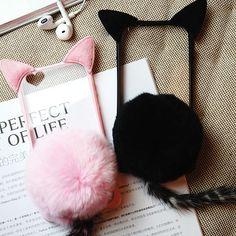 Kawaii plush cat ear phone case