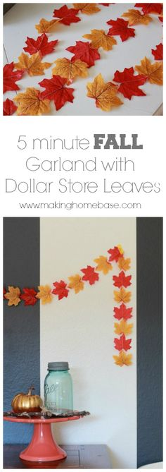 5 minute Fall Garland from Dollar Store leaves. So easy!