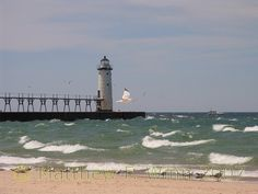 The lighthouse at Fifth Avenue Beach, Manistee, Michigan