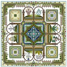 This design is a sibling to the previous Medieval Cloister Herbularius which depicted herbs and small plants used in medieval times. Description from europeanxs.com. I searched for this on bing.com/images