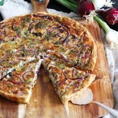 Traditional German Onion Tarte with herbs - best with a glass of new wine!