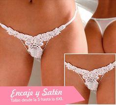 Tanga de encaje floral color blanco con pedrería muy fino y elegante #lenceria #sexy #mujer #tanga #romantico #sensual #sexy #ideas #amor #sanvalentin