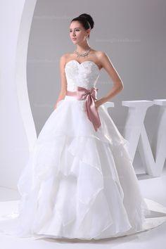 Sweetheart A-line princess organza wedding dress with colored sash