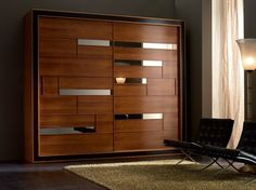 Solid wood wardrobe with sliding doors ELETTRA Night Collection by Cantiero