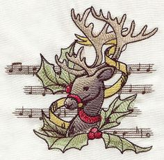 """""""Yuletide Revelry - Reindeer""""  Craft some vintage Christmas cheer with this enchanting sheer-stitching reindeer design.  -  UT5417 (Machine Embroidery)  00367152-111412-1229-1"""