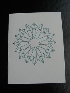 Embroidered Card, Moroccan Inspired Design, Teal