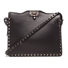 Valentino Noir Hobo (3,915 CAD) ❤ liked on Polyvore featuring bags, handbags, shoulder bags, genuine leather shoulder bag, leather flap handbag, metallic handbags, valentino handbags and genuine leather purse