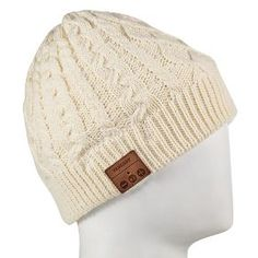 fe88dfa5e3e Tenergy Beanie Hat with Built In Bluetooth Speakers and Microphone - Ivory  Bluetooth Speakers