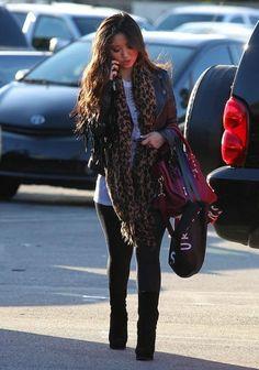 Brenda Song...love the cheetah scarf!