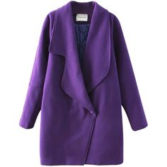 Chicnova Fashion Pure Color Lapel Coat (67 AUD) ❤ liked on Polyvore featuring outerwear, coats, jackets, coats & jackets, tops, purple coat and lapel coat