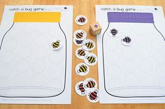 Catch a Bug Game! Learn colours and counting with game options for all ages. Sensory Activities Toddlers, Preschool Learning Activities, Preschool Printables, Preschool Activities, Bug Games, Math Games, Preschool Bug Theme, Preschool Letters, Bugs