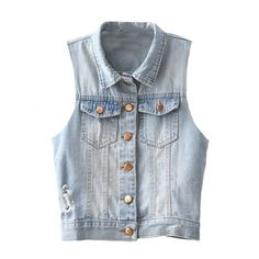 Frayed Single-breasted Denim Vest ($23) ❤ liked on Polyvore featuring outerwear, vests, jackets, tops, blue vest, denim waistcoat, blue denim vest, vest waistcoat and denim vest