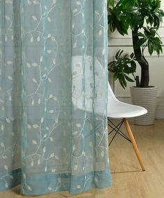 Custom Sheer Curtain Voile Panel With Cotton Embroidery Pattern. One Panel. Choose Width and Length. Made To Order. Custom Size Available.
