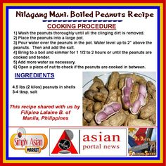 Nilagang Mani (Boiled Peanuts) - A Filipino Recipe...This is a common street food in the Philippines. Really easy to make and delicious to eat. For More on Filipino Foods and Recipes visit us at: https://www.facebook.com/groups/678372948894511/
