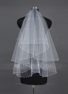 Wedding Veils - $11.49 - One-tier Fingertip Bridal Veils With Pearl Trim Edge (006037923) http://jjshouse.com/One-Tier-Fingertip-Bridal-Veils-With-Pearl-Trim-Edge-006037923-g37923