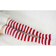 Cotton Thigh High Socks Red and White Stripes Socks Chrtistmas Socks... ($11) ❤ liked on Polyvore featuring intimates, hosiery, socks, striped socks, cotton socks, striped knee high socks, knee high socks and striped knee socks
