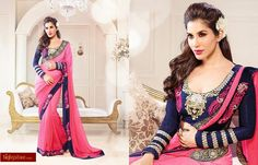 http://www.high5store.com/designer-sarees/340177-bollywood-sofie-chaudhary-pink-georgette-saree-with-heavy-embroidered-dupion-blouse.html