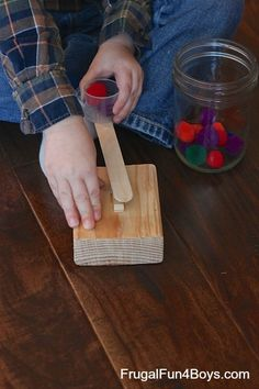 Simple clothespin catapult - this one is perfect for toddlers and preschoolers