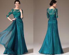 Custom Made New Green Lace Top Half Sleeves Mother of the Bride Dress (26141305) on Etsy, $250.00