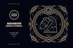 fe6263210 Thin line zodiac label - Aquarius zodiac zodiacal astrology calendar horoscope  sign symbol symbolic thin line